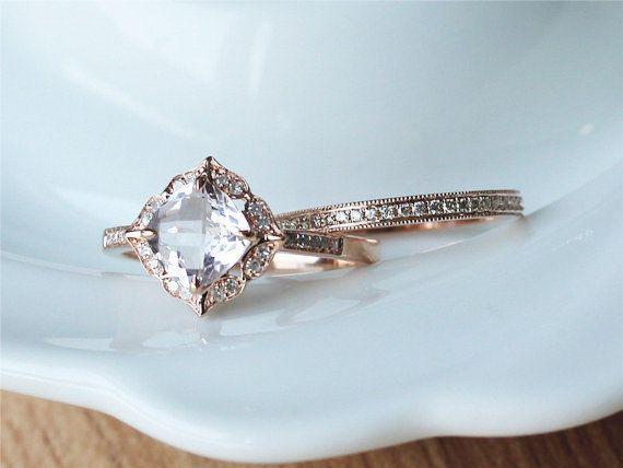 Two RingsVS 2.5ctw Natural Pink Morganite Ring 14K Rose by ByLaris