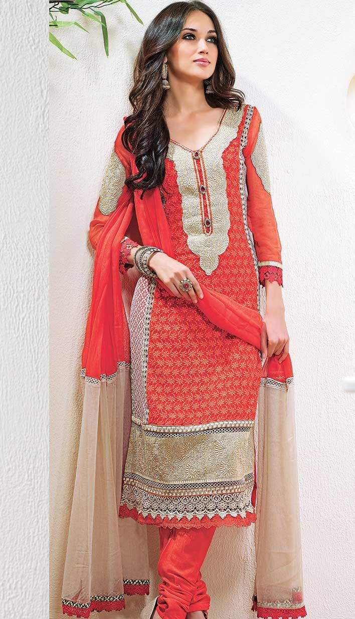 Beautiful Indian Dusty Red Georgette Churidar Kameez #PartyWearDresses