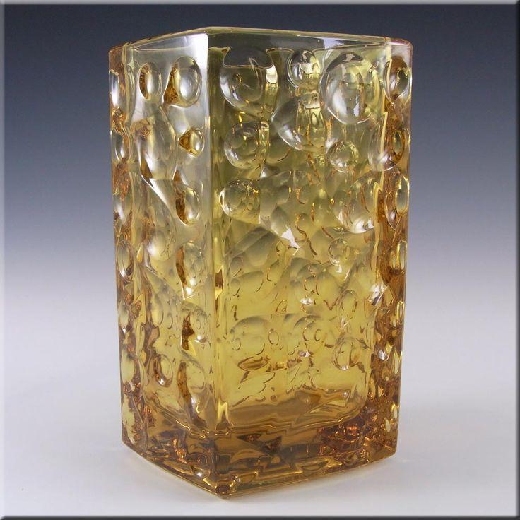 Rosice Sklo Union Amber Glass Vase Jiri Brabec #5122 - £39.99