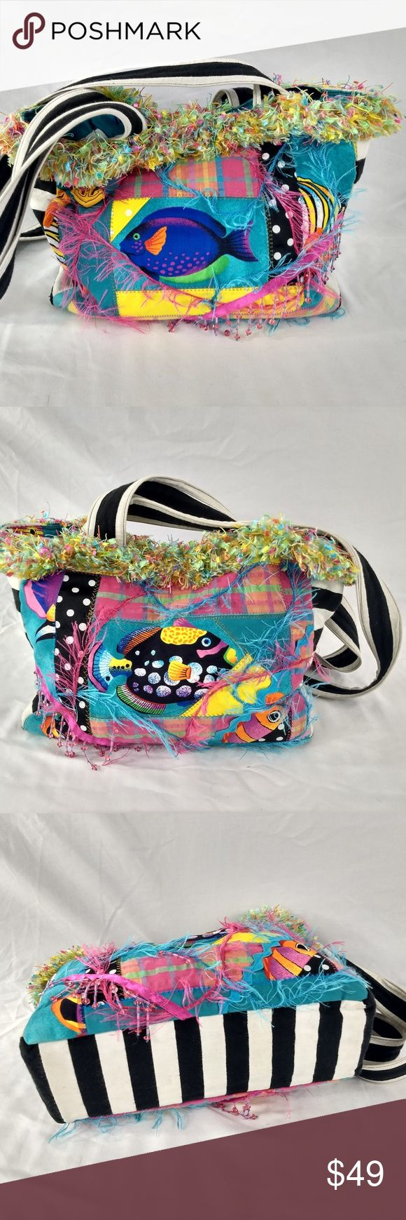 "AMAZING TROPICAL FISH COLORFUL BEACH BAG This item is one of a kind.  It shows almost no wear, easily 9 of 10.  Unique bag, that is hand made one of a kind.  Lining is beautiful with various colorful tropical fish.  Gorgeous Boho.  Fabric feels like a cotton canvas.  Minor wear from normal use but very clean inside and out.  Unique bag.  MEASURES:  14 X 10 X 3 with a 15.5"" strap drop. Poshmark Bin #4 (SP) MarKen Designs Bags Hobos"