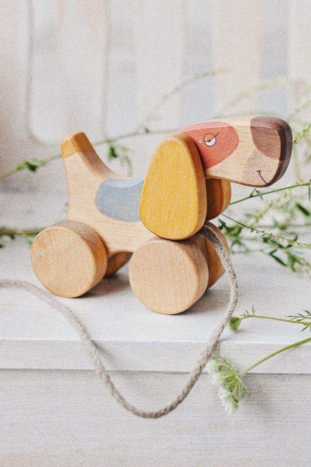 Handmade wooden toy, wooden eco friendly toy, pull toy dog