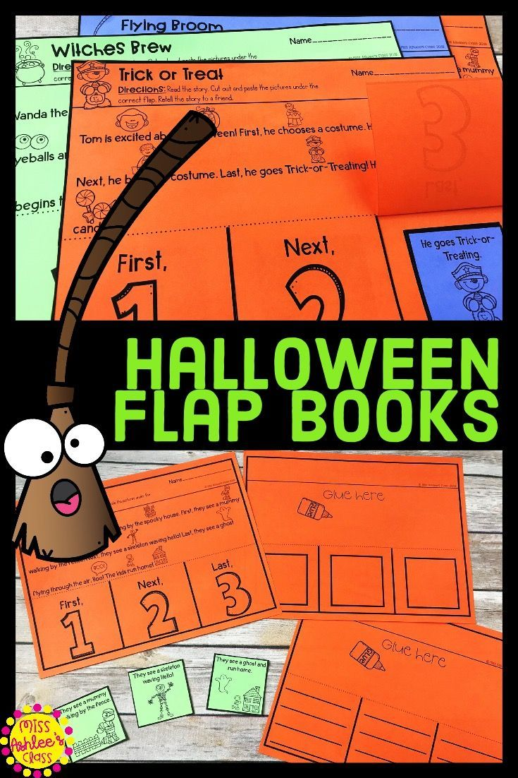 Halloween Story Retelling and Sequencing Flap Books