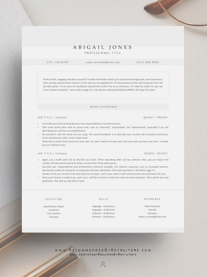 Resume Template Instant Download Minimalist Cv Template For Etsy In 2020 Modern Resume Design Resume Design Minimalist Resume Template