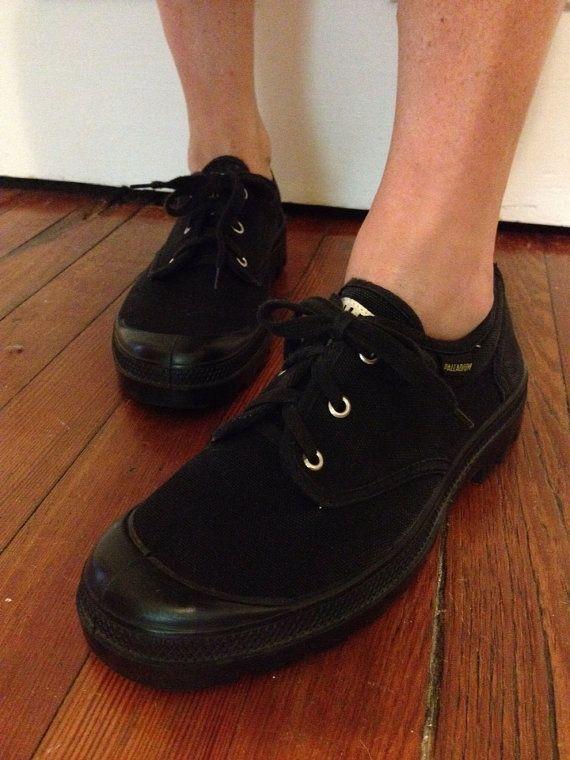 Vintage 90s grunge palladium black canvas shoes on Etsy, $26.00