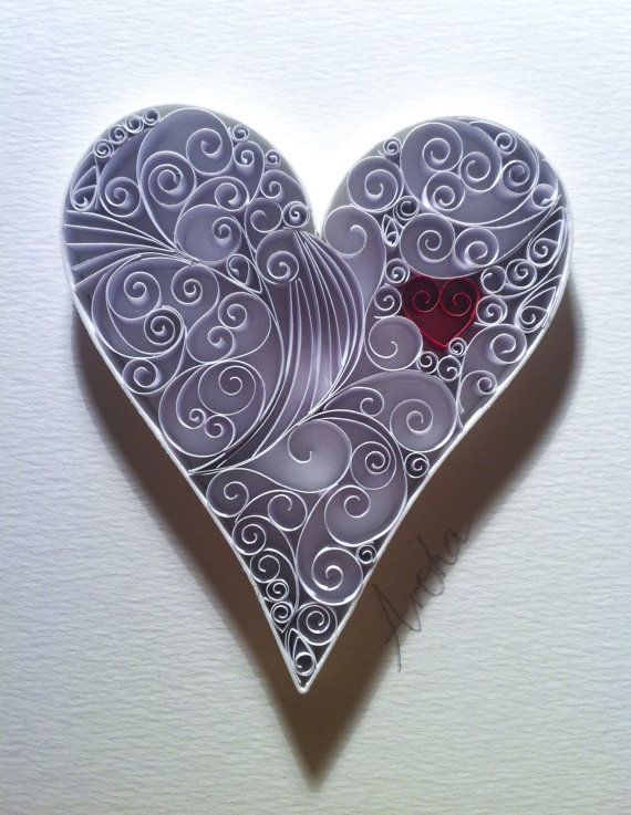 Love Heart Paper Quilling Art by QuillingbyCourtney on Etsy