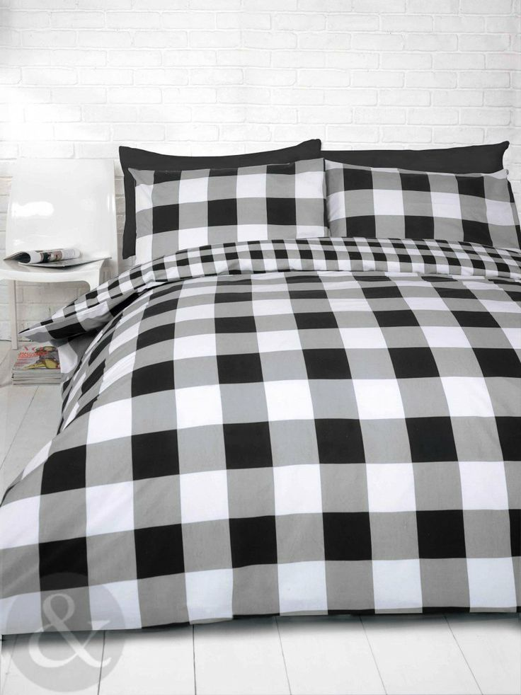 gingham check duvet cover cotton blend reversible bedding quilt cover bed set black white. Black Bedroom Furniture Sets. Home Design Ideas