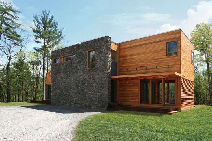 Prefab modular houseCatskills SUBurban « Resolution: 4 Architecture - Casa prefabricada modular americana combina madera y piedra en las terminaciones