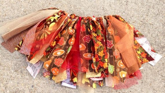 Thanksgiving Fabric Tutu Skirt, autumn tutu, pumpkins tutu, fall photo prop, shabby chic tutu