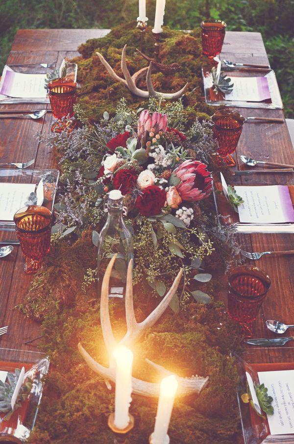 woodland tablescape // photo by Amy Wallen // view more: http://ruffledblog.com/woodland-bohemian-wedding-ideas
