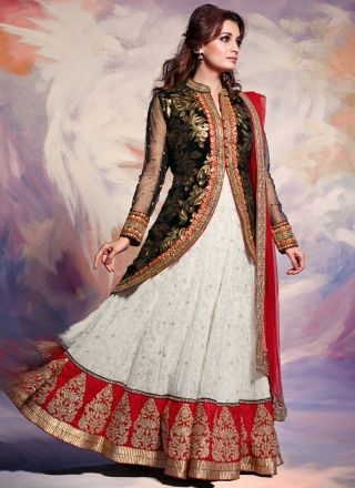 Diya Mirza In White And Red Wedding Lehenga Choli http://www.angelnx.com/