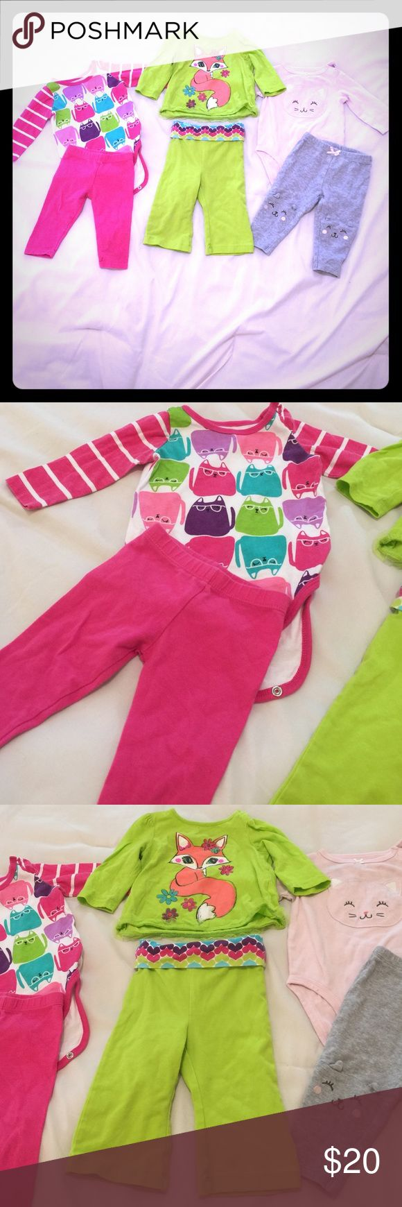 Bundle of 3 outfits baby girl 3-6mo long sleeve Fuchsia outfit is Okie Dokie. Lime green outfit is Jumping Beans. Both are in great condition, no stains. Pink and gray outfit is Carter's. Some pale gray transfer stains on the cat face on the onesie but I bet that will come out with stain remover. Matching Sets