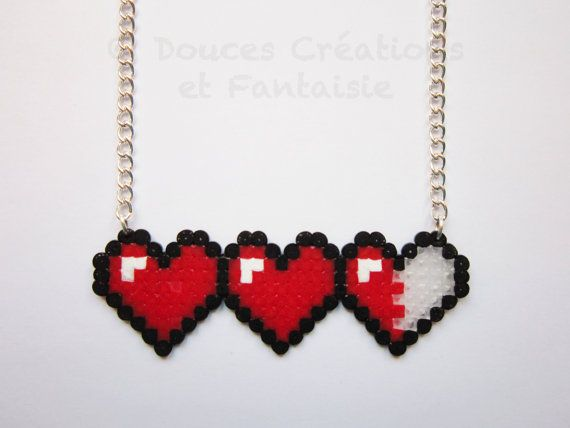 Jewel Heart Necklace gamer, Legend Of Zelda, geek, pearl hama bead kawaii girl child woman, hand-made