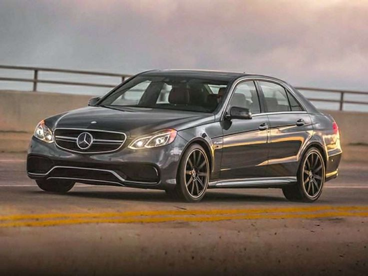 2015 Mercedes-Benz E63 AMG S-Model 4MATIC The 2015 Mercedes-Benz E63 AMG offers Euro-luxury fans with the chance to sample a Teutonic take on the muscle car concept. The Mercedes-Benz E63 AMG sedan features a 5.5-liter biturbo V-8 that provides 577 horses and 590 lb-ft of torque. A seven-speed automatic transmission (with manual shift control, of course), comes standard with the E63 AMG, as well as Mercedes' 4MATIC all-wheel drive. 60 mph arrives in a scant 3.5 seconds, one of the fastest.