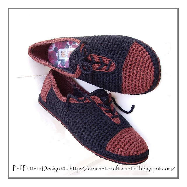 Ravelry:Leather-Look Slippers + CROCHET-Sole Turn Home-Slippers into Street-Shoes!! Crochet pattern by Ingunn Santini