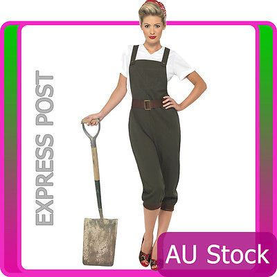 Ladies ww2 land girl fancy dress world war 2 #wartime outfit #1940s army #costume,  View more on the LINK: http://www.zeppy.io/product/gb/2/231601658171/