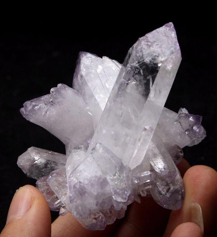 83.6g NEW Find!! Rare Beautiful Clear QUARTZ Purple Top Crystal Cluster Specimen