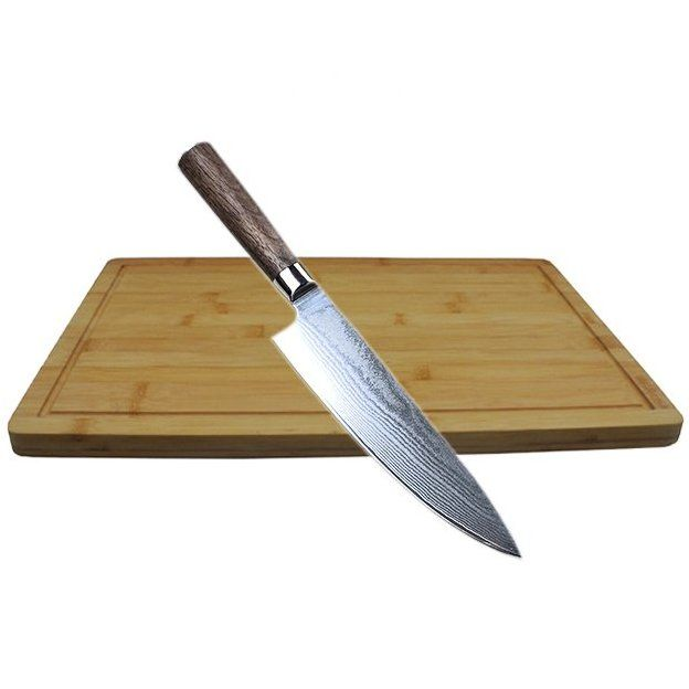 Professionelles Damascus Steel Kochmesser inkl. Bambus Schneidebrett