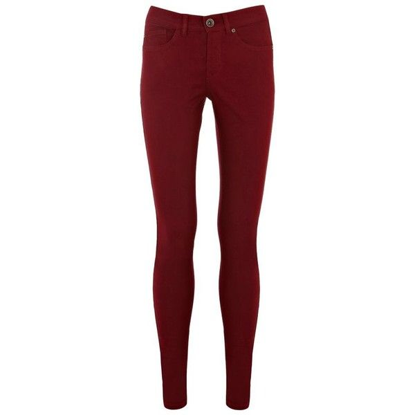 Dark Red Cherry Coloured Jeans ($52) ❤ liked on Polyvore