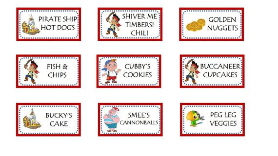 Jake And The Neverland Pirates Food Label Printables Free