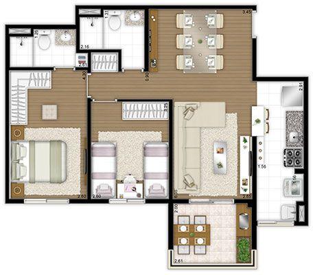 Apartamento planta 69 70m2 2 quartos plantas de casas for 70m2 house design