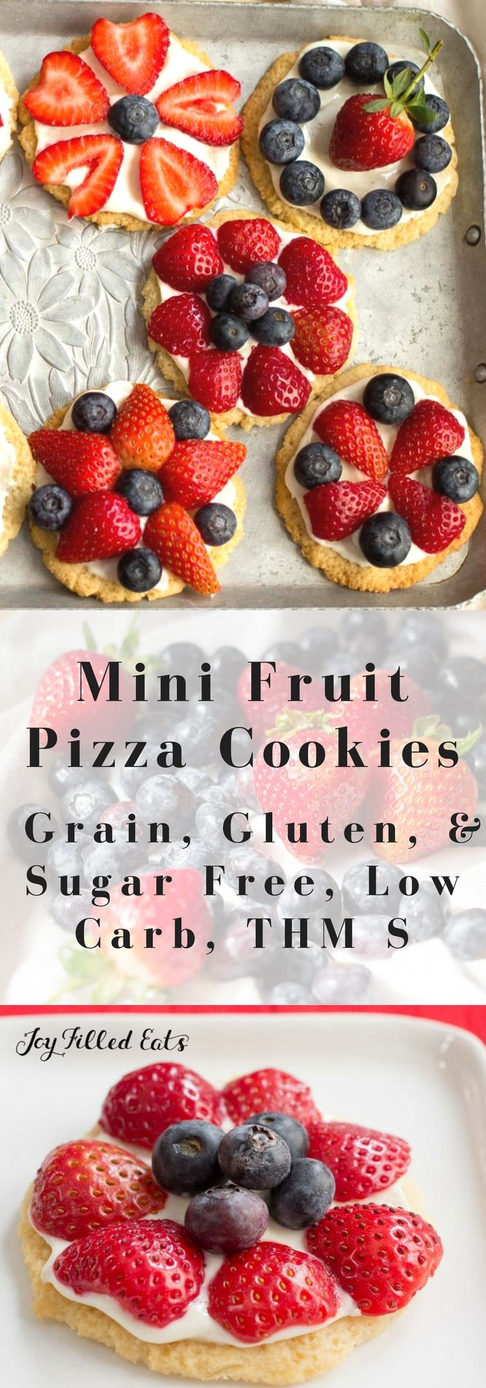 Mini Fruit Pizza Cookies - Low Carb, Grain Gluten Sugar Free, THM S - My Mini Fruit Pizza Cookies are as tasty as they are pretty. With a shortbread crust, cream cheese icing, & fresh berries they are a perfect dessert. via @joyfilledeats
