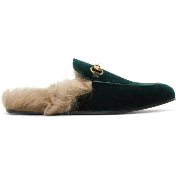 Gucci Green Velvet Princetown Slippers ($825) ❤ liked on Polyvore featuring men's fashion, men's shoes, men's slippers, green, mens round toe shoes, mens velvet shoes, mens slip on slippers, mens slip on shoes and mens slipon shoes