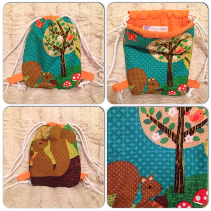 Little Squirrel Mini Toddler Drawstring / Nursery Bag / Backpack by PippalillyShop on Etsy