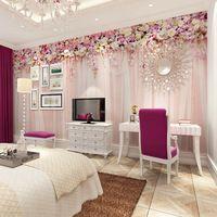 Comercio al por mayor 3d foto mural de la pared para la habitación de la boda cortina de tela sofá papel tapiz de fondo 3d murales de pared flor fresco ropa de cama