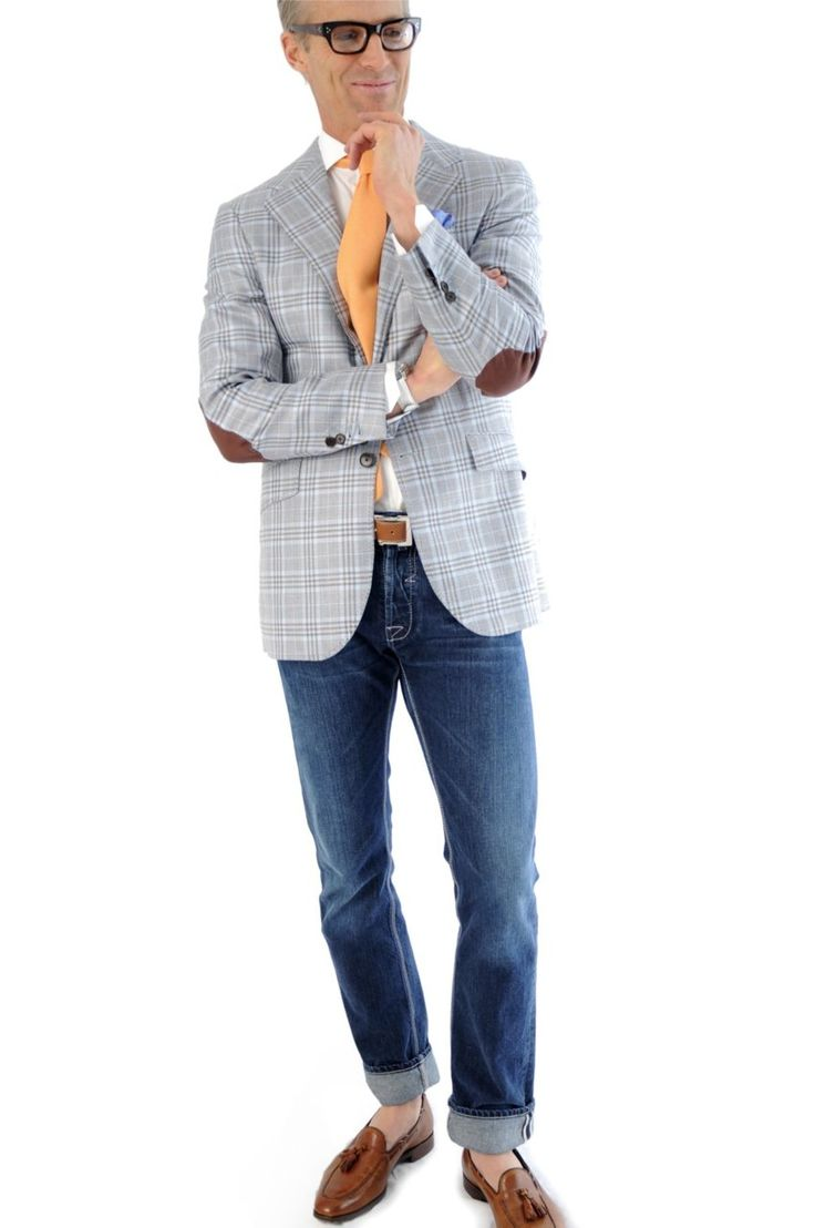 lexusbest:  Harris Sport Coat from Hadleigh's -Blue-Brown Plaid linen elbow patch Sport Coat from Hadleigh's. Half lined details with double contrast stitching all around. Barker Black Pebble Grain Tassel Loafer. Tan Pebble Grain Custom Belt.