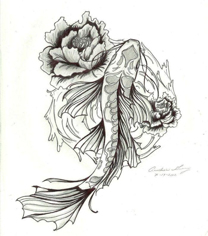 Koi Fisch mit Rosen als Tattoo-eine Zeichnung als Vorlage