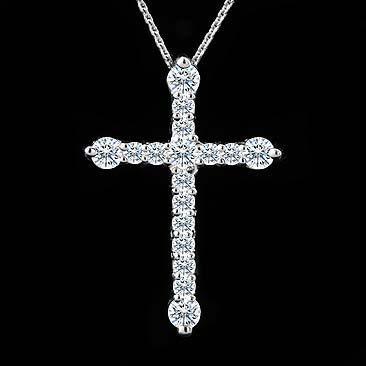 Diamond Cross Pendant Necklace 14K White Gold. $499.00, via Etsy.