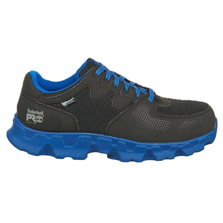 Timberland Pro Men's Powertrain Medium/Wide Alloy Safety Toe Work Shoes (Black/Blue Microfibe)