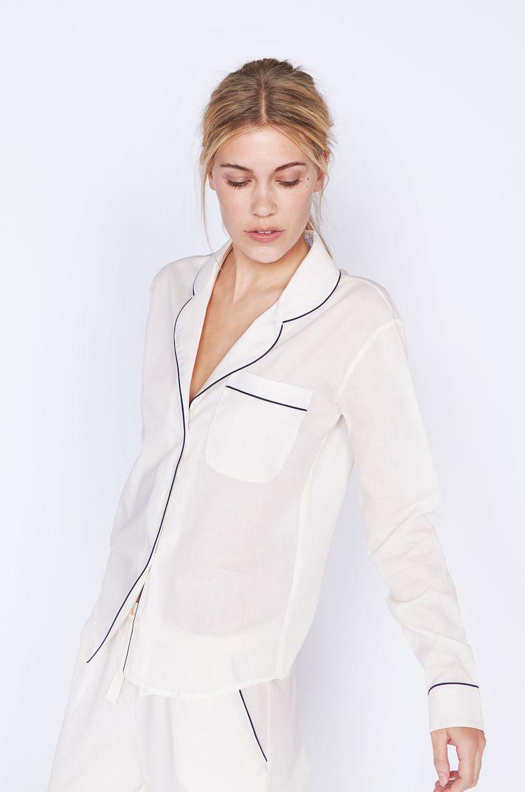 Classic Cream Long Luxury Cotton Womens Pyjama Set – Desmond & Dempsey