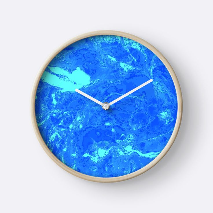 """Cyan and blue marble texture."" Clocks by kakapostudio 