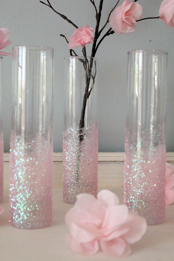 DIY Glittery Pink Vases - This would be perfect w/ aqua spray glitter & white flowers!