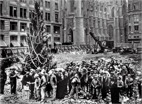 The first Rockefeller Christmas tree in 1931.