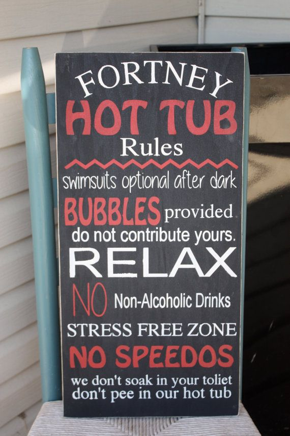 This sign would be the perfect addition to your spa space. https://www.etsy.com/listing/238659048/hot-tub-rules-sign-personalized-wooden?utm_source=Pinterest&utm_medium=PageTools&utm_campaign=Share#utm_sguid=166133,29414577-b45c-9c28-2027-9f76ac56489c