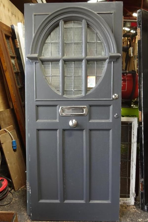 architectural salvage glass panel door | 1920 entrance door 1920s front door with large oval window with ...
