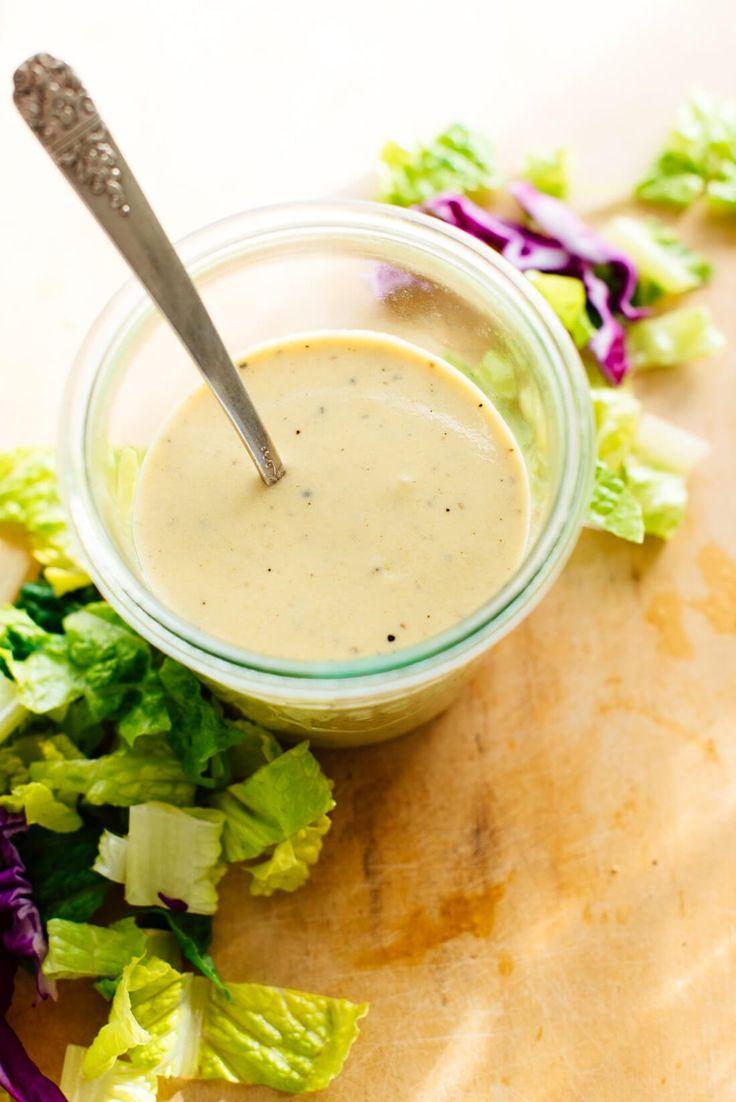 This light but creamy honey-mustard salad dressing is made with Greek yogurt instead of mayonnaise, and it\'s way better than the regular kind! #healthyrecipe #saladdressing #honeymustard
