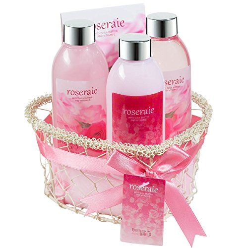 Rosarie ! Spa bath and body gift set displayed in wire heart shape basket,shower gel, bubble bath, body lotion, bath salts