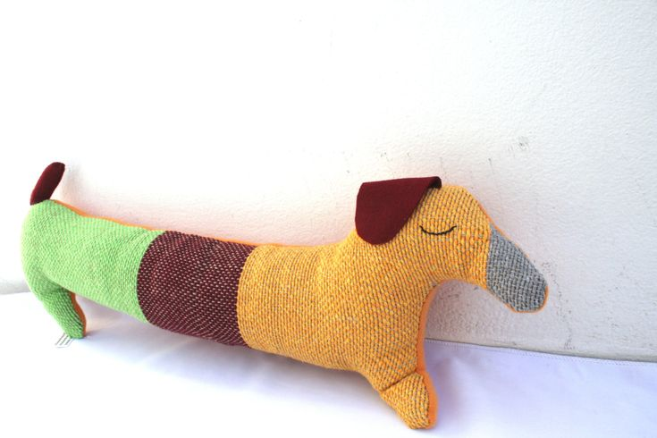 Handwoven dachshund dog, pillow, plush,softie by ERGANIweaving on Etsy