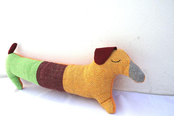 Handwoven dachshund dog, pillow, plush,softie by ERGANIweaving on Etsy