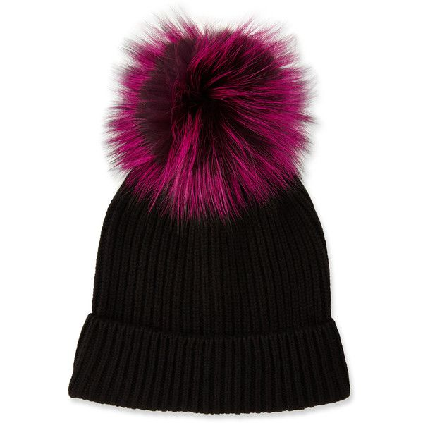Neiman Marcus Cashmere Hat w/ Fox Fur Pompom (64 CAD) ❤ liked on Polyvore featuring accessories, hats, slouch hat, neiman marcus hats, pom pom hat, pompom hat and slouchy hat