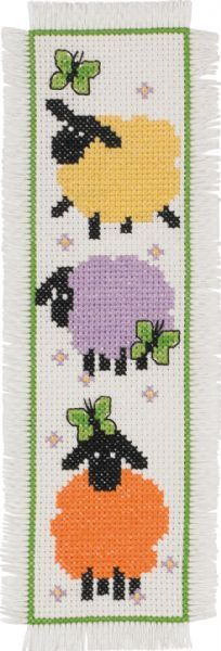 Permin Sheep Bookmark - Cross Stitch Kit. Kit includes 14 Ct. Ivory Aida, floss, needle, and instructions. Finished size: 2 1/2 x 8 1/2 (7cm x 22cm)