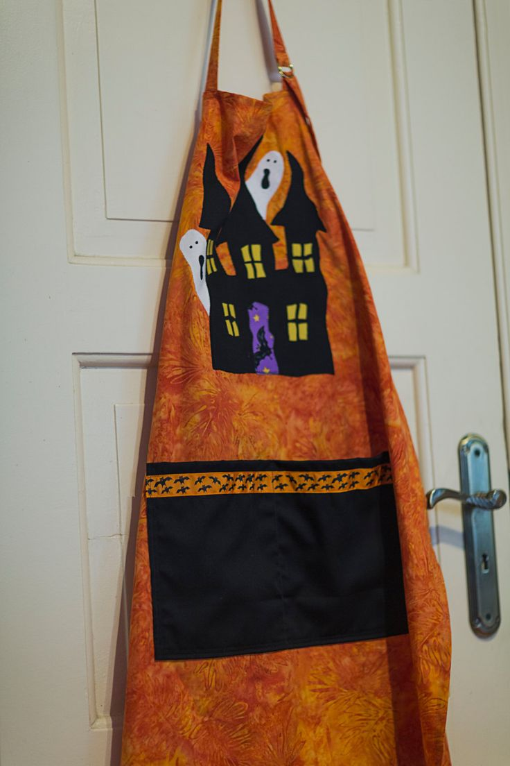 Halloween Apron Cobweb Buttons Spider Gothic Haunted House Ghost Black Orange Horror Kitchen Trick-or-Treat by RoyalHandicrafts on Etsy
