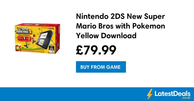 Nintendo 2DS New Super Mario Bros with Pokemon Yellow Download, £79.99 at GAME