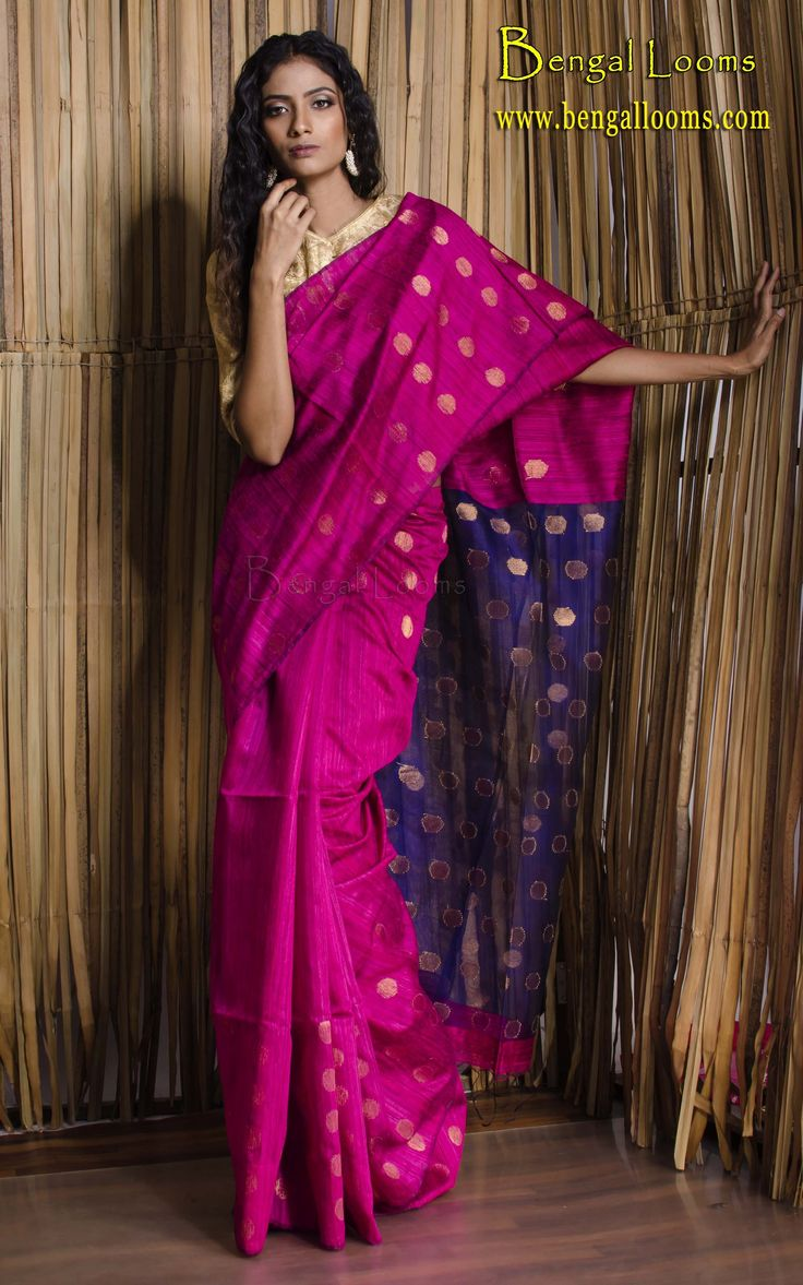Khadi Matka Silk Saree in Rani and Blue