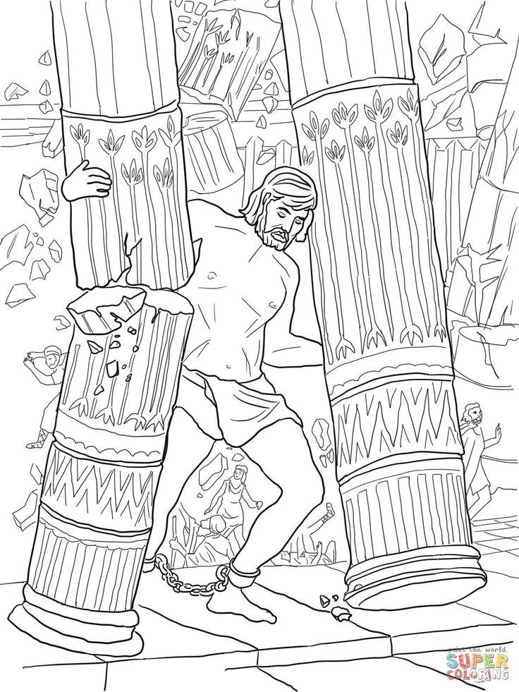 Samson Pushing Down Pillars Coloring Page From Category Select 20946 Printable Crafts Of Cartoons Nature Animals Bible And Many More