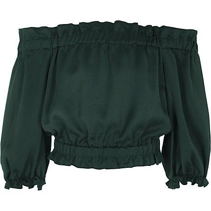 Girls dark green bardot gypsy top $28.00