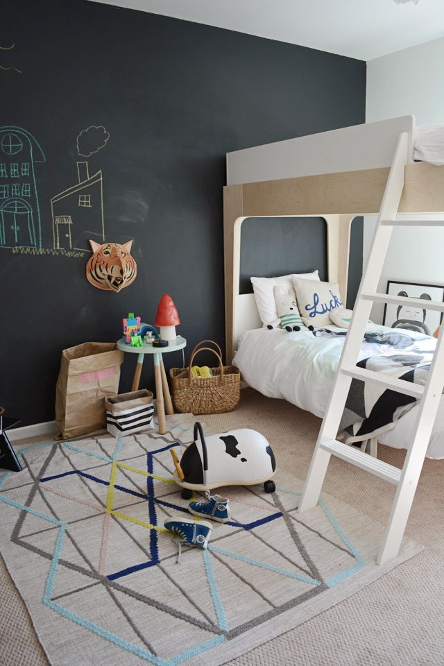Clean, modern and fun kids shared room featuring the OEUF PERCH bunk bed.: